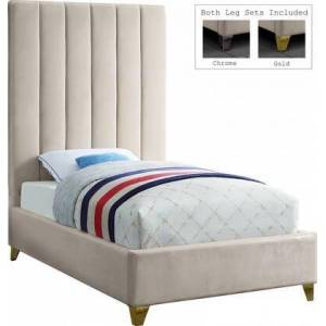 """Meridian Via Collection VIACREAM-T 81"""" Twin Size Bed with Velvet Upholstery  Channel Tufting  Full Slats  Gold and Chrome Leg Set in"""