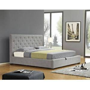 """J and M Furniture Prague 18258-F 58"""" x 51"""" Full Size Storage Bed with Tufted Fabric Headboard and Valuable Storage Space in Light Grey in Light"""