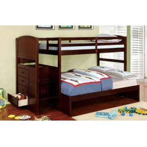 Furniture of America Appenzell Collection CM-BK922F-EX-BED Twin Over Full Size Bunk Bed with Built-In Drawers  Front Access Steps  Solid Wood and Wood Veneer Construction