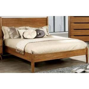 Furniture of America Lennart Collection CM7386A-Q-BED Queen Size Panel Bed with Mid-Century Style  Tapered Legs  Wooden Headboard and Wood Veneer Construction in Oak