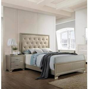 Myco Furniture Dawson Collection DA515KN 2-Piece Bedroom Set with King Bed and Nightstand in Champagne
