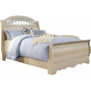 Ashley Catalina B196-74/77/96 Queen Sleigh Bed with Leaf Appliques  Replicated Chestnut Grain and Faux Stone Details on Footboard Top in Antique
