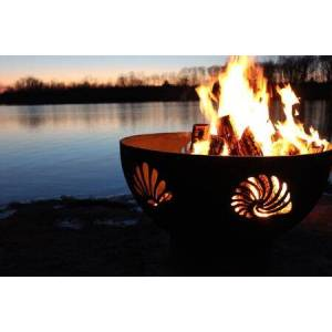 """Fire Pit Art Beachcomber Collection BEACH 36"""" Wood Burning Fire Pit in Iron Oxide"""