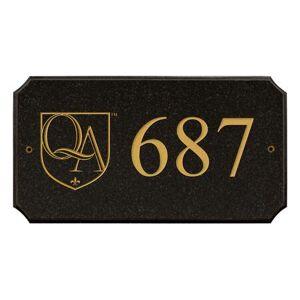 "Qualarc EXE-4702-BP Executive ""cut corner"" Rectangle ""Black Polished Stone Color"" Solid Granite Address"