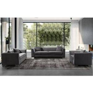 Armen Living Cambridge Collection LCCM3GR3SET 3 PC Living Room Set with Sofa  Loveseat and Chair in Dark Grey