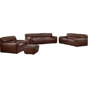Sunset Trading Milan Collection SU-AX6816-SLCO 4 Piece Living Room Set  Sofa  Loveseat  Armchair  Ottoman with Leather in Brown