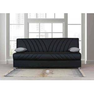 "Alpha IRIS SOFA 75"" PU Upholstered Sofa Bed with Chrome Legs and Channeled Details on Seat and Back in"