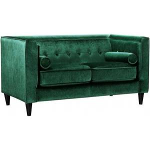 """Meridian Taylor Collection 642Green-L 62"""" Loveseat with Top Quality Velvet Upholstery  Accent Pillows and Button Tufting in"""