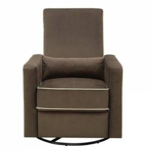 PRiME DS-A726-006-178 Plush Reclining Glider with Swivel Base in Coffee