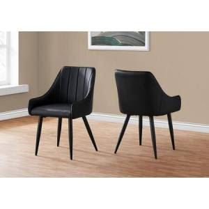 "Monarch I 1187 Dining Chair - 2Pcs 33""H Black Leather-Look"