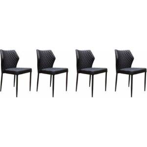 Diamond Sofa MILODCBL4PK Milo Collection Dining Chair (Sets of 4) with Black Diamond Tufted Leatherette  Black Powder Coat Legs and Polyester Fibers  in