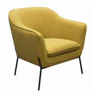 """Diamond Sofa Status Collection STATUSCHYL 34"""" Accent Chair with Flared Arms  Piped Stitching  Black Powder Coated Metal Legs and Fabric Upholstery in Yellow"""