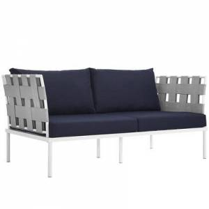 """Modway Harmony Collection EEI-2603-WHI-NAV 65"""" Outdoor Patio Loveseat with White Aluminum Frame  Dense Foam Padding and All-Weather Canvas Fabric Cushions"""