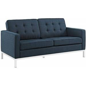 """Modway Loft Collection EEI-2051-AZU 63"""" Loveseat with Tufted Buttons  Removable Zippered Cushion Cover  Tubular Stainless Steel Frame and Polyester Fabric"""