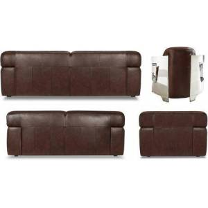 Sunset Trading Milan Collection SU-AX6816-SLAO 4 Piece Living Room Set  Sofa  Loveseat  Aviator Chair with Chrome Arms  Ottoman with Leather Upholstery in Brown