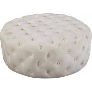 """Meridian 122Cream 36"""" Ottoman/Bench with Velvet Upholstery  Round Shape  Deep Tufting and Contemporary Style in"""