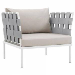 "Modway Harmony Collection EEI-2602-WHI-BEI 33"" Outdoor Patio Armchair with White Aluminum Frame  Silk Polyester Weave Back & Arms and All-Weather Canvas"