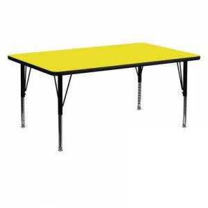 Flash Furniture XU-A2460-REC-YEL-H-P-GG 24''W x 60''L Rectangular Activity Table with 1.25'' Thick High Pressure Yellow Laminate Top and Height Adjustable Pre-School