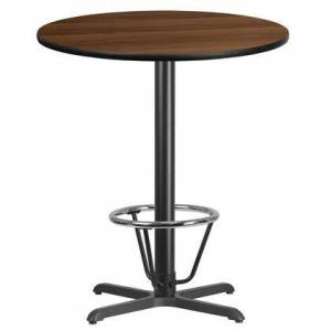 "Flash Furniture XU-RD-36-WALTB-T3030B-3CFR-GG 36"" Round Walnut Laminate Table Top with 30"" x 30"" Bar Height Table Base and Foot"