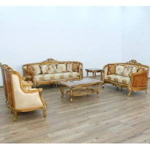 European Furniture Luxor Collection II Luxury 3 Pieces Set with 1 Sofa + 1 Loveseat + 1 Chair  in Brown Gold