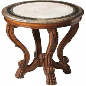 Butler Mabel Collection 5026070 Foyer Table with Traditional Style  Round Shape and Fossil Stone Veneer in Heritage