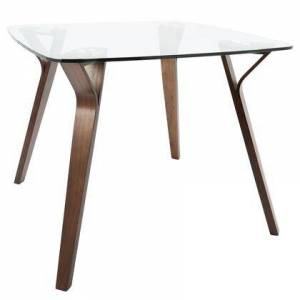 LumiSource DT-FOLIA WL+CL Folia Mid-Century Modern Dining Table in Walnut and