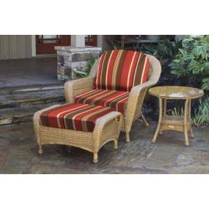 Tortuga Sea Pines Collection LEX-STCO1-M-MONS Chair  Ottoman and Side Table in Mojave Wicker and Monserrat Sangria Fabric