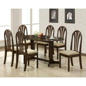 Acme Furniture Stockholm Collection 02190TE6C 7 PC Dining Room Set with Dining Table + 6 Side Chairs in Espresso