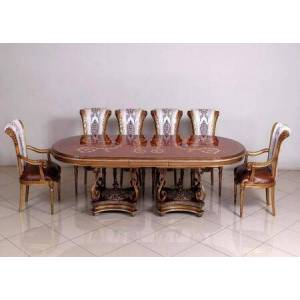 European Furniture Valentina Collection Luxury 11 Pieces Set with 1 Dining Table + 2 Arm Chair + 8 Side Chair  in Antique Silver and Natural