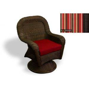 Tortuga Sea Pines Collection LEX-24-T-MONS Swivel Rocking Dining Chair in Tortoise Wicker and Monserrat Sangria Fabric