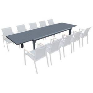 """Bellini Home and Gardens ANew Collection PA039134WPG 85"""" - 132"""" Outdoor Extendable Dining Table with 9mm Spray Stone Thick Glass Table Top and Weather-Resistant Powder Coated"""