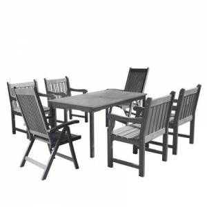 Vifah Renaissance Collection V1297SET25 7-Piece Outdoor Patio Dining Set with Table 4 Armchairs and 2 Reclining