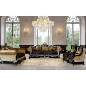 European Furniture Raffaello Collection Luxury 3 Pieces Set with 1 Sofa + 1 Loveseat + 1 Chair  in Black Gold