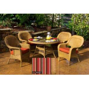 """Tortuga Sea Pines Collection LEX-5DS1-M-MONS 5-Piece Dining Set with 4 Dining Chairs and 48"""" Dining Table in Mojave Wicker and Monserrat Sangria Fabric"""
