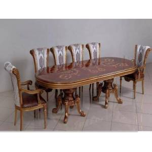 European Furniture Maggiolini Collection Luxury 11 Pieces Set with 1 Dining Table + 2 Arm Chair + 8 Side Chair  in Antique Silver and Natural