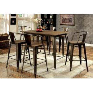 Furniture of America Cooper II Collection CM3529PT6PC 7-Piece Dining Room Set with Rectangular Counter Height Table and 6 Counter Height Side Chairs in Natural Elm