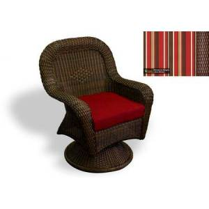 Tortuga Sea Pines Collection LEX-24-J-MONS Swivel Rocking Dining Chair in Java Wicker and Monserrat Sangria Fabric