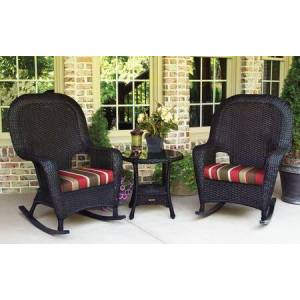 Tortuga Sea Pines Collection LEX-RT3-T-MONS 3-Piece Rocker and Table Set with 2 Rockers and 1 Side Table in Tortoise Wicker and Monserrat Sangria Fabric