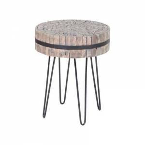 ELK Home 7162-051 Nutela Accent Table  In Bronze Iron  Natural Wood