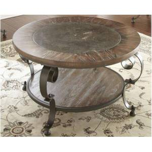 "Steve Silver Mulberry Collection MU200C 36"" Round Cocktail Table with Metal Base  Bluestone Insert and Scrolled Legs and Bottom Shelf in"