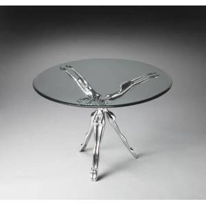 Butler Blissful Collection 2599025 Accent Table with Modern Style  Round Shape and Aluminum Material in Metalworks