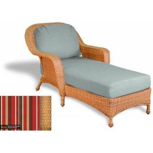 Tortuga Sea Pines Collection LEX-CL1-M-MONS Chaise Lounge in Mojave Wicker and Monserrat Sangria Fabric