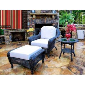 Tortuga Sea Pines Collection LEX-STCO1-T-MONS Chair  Ottoman and Side Table in Tortoise Wicker and Monserrat Sangria Fabric