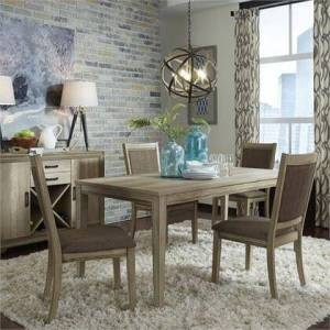 Liberty Furniture Sun Valley Collection 439-DR-O5RLS 5PC Rectangular Table Set with 4x Uph Side Chair and 1 Rectangular Leg Table in Sandstone