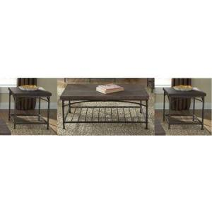 Liberty Furniture Franklin Collection 202-OT-3PCS 3-Piece Living Room Table Set with Cocktail Table and 2 End Tables in Rustic Brown