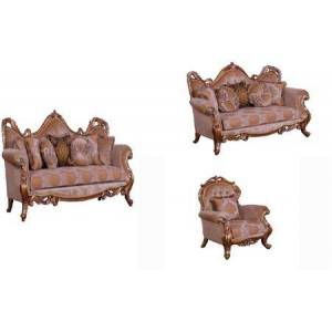 European Furniture Tiziano Collection Luxury 3 Pieces Set with 1 Sofa + 1 Loveseat + 1 Chair  in Parisian Brown Light Gold and Antique