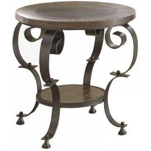 """Steve Silver Mulberry Collection MU200E 24"""" Round End Table with Metal Base  Bluestone Insert and Scrolled Legs and Bottom Shelf in"""