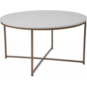 Flash Furniture NAN-JH-1787CT-GG Hampstead Collection White Coffee Table with Matte Gold