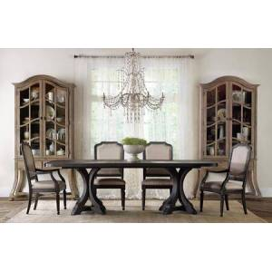 Hooker Furniture 5180 7-Piece Dining Room Set with 1 Corsica Rectangular Double-Pedestal Dining Room Table  2 Arm Chairs and 4 Side Chairs in