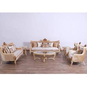 European Furniture Veronica Collection III Luxury 3 Pieces Set with 1 Sofa + 1 Loveseat + 1 Chair  in Beige and Dark Gold